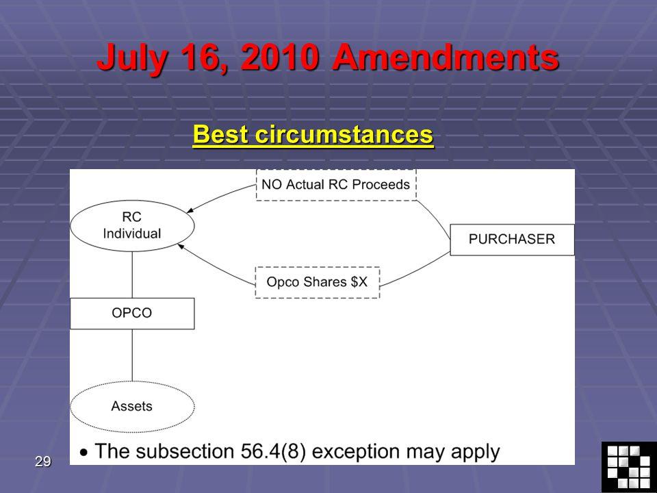 29 July 16, 2010 Amendments Best circumstances