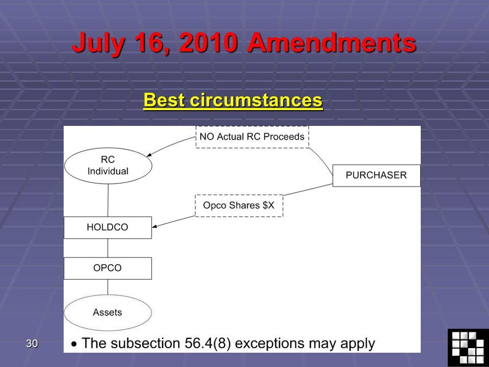 30 July 16, 2010 Amendments Best circumstances