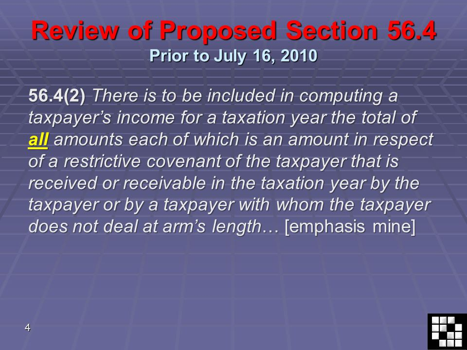 25 July 16, 2010 Amendments 14. Deemed proceeds – possible favourable results