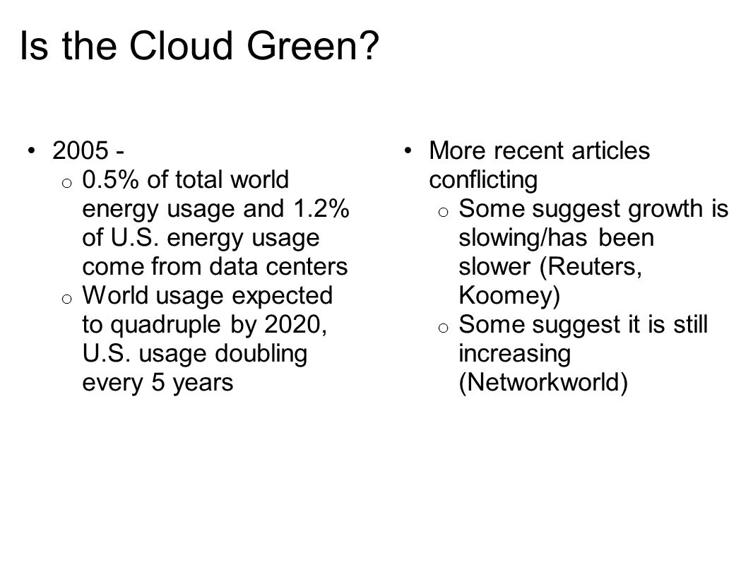 Conclusion Power savings within the Cloud are an increasingly important area to focus on Power-Aware scheduling can help increase utilization, synergizes well with dynamic shutdown and startup Virtual Machine Image optimization can lead to gains on several fronts o Faster startup/shutdown increases effectiveness of dynamic startup/shutdown o Smaller images are easier to migrate, require less network traffic o Less wasted resources for the user