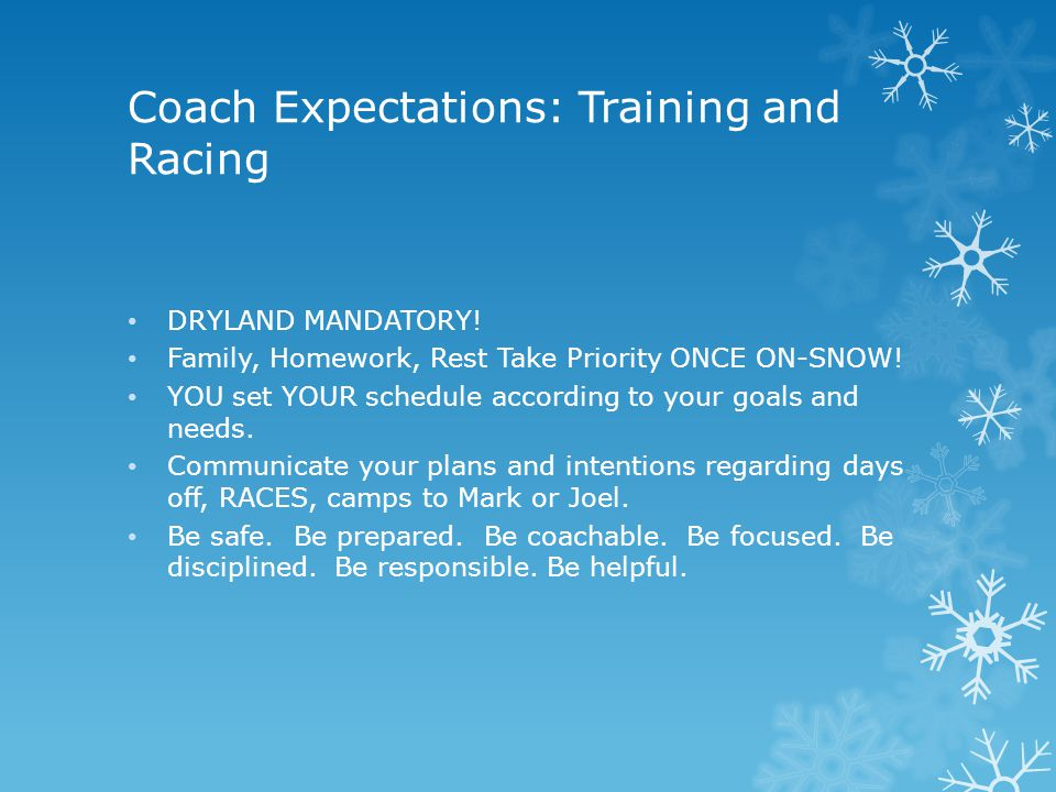 Coach Expectations: Training and Racing DRYLAND MANDATORY.