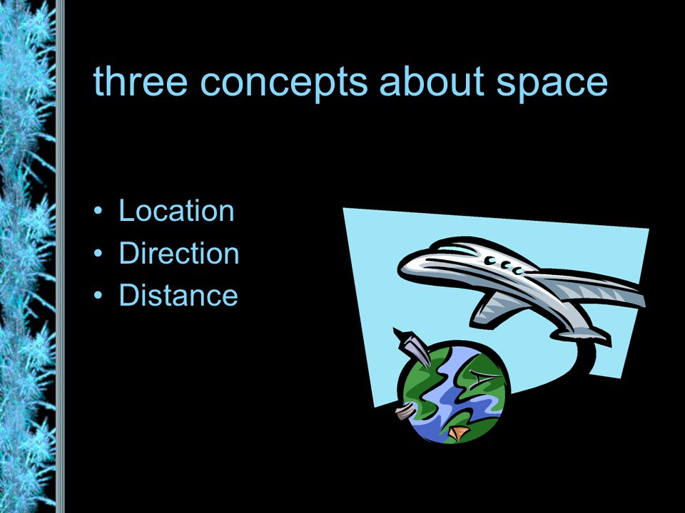 three concepts about space Location Direction Distance