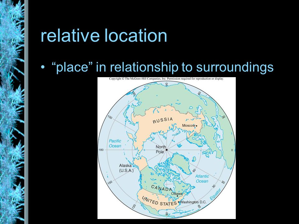 relative location place in relationship to surroundings