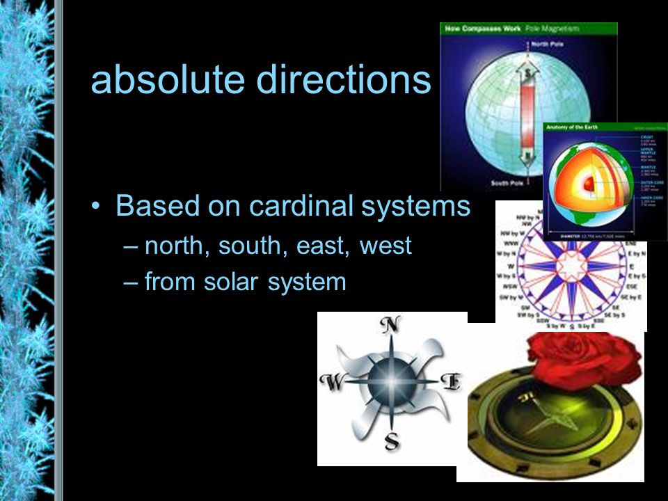 absolute directions Based on cardinal systems –north, south, east, west –from solar system