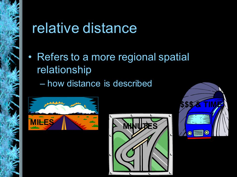 relative distance Refers to a more regional spatial relationship –how distance is described MILES MINUTES $$$ & TIME