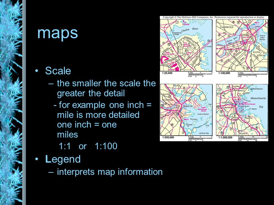 maps Scale –the smaller the scale the greater the detail - for example one inch = one mile is more detailed than one inch = one hundred miles 1:1 or 1:100 Legend –interprets map information