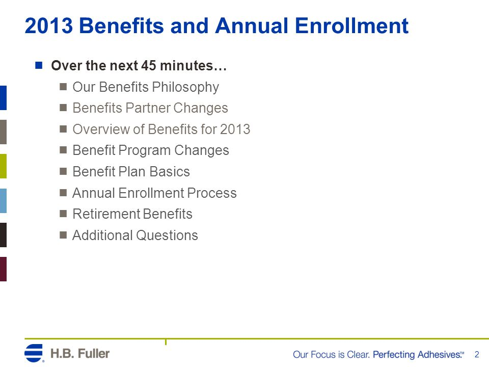 2013 Benefits and Annual Enrollment  Over the next 45 minutes…  Our Benefits Philosophy  Benefits Partner Changes  Overview of Benefits for 2013  Benefit Program Changes  Benefit Plan Basics  Annual Enrollment Process  Retirement Benefits  Additional Questions 2