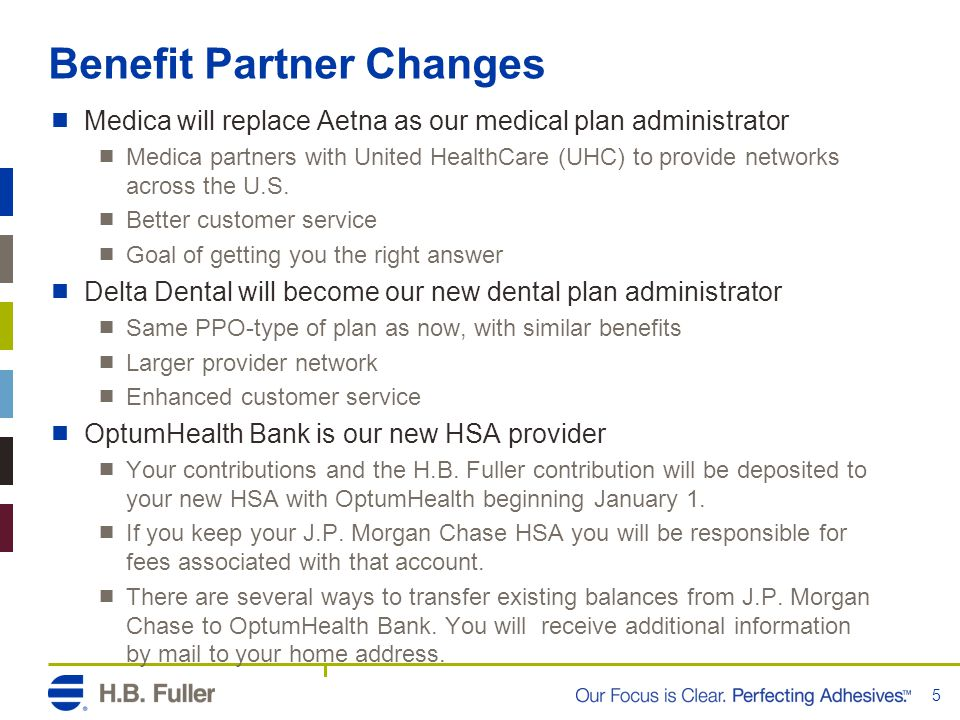 Benefit Partner Changes  Medica will replace Aetna as our medical plan administrator  Medica partners with United HealthCare (UHC) to provide networks across the U.S.