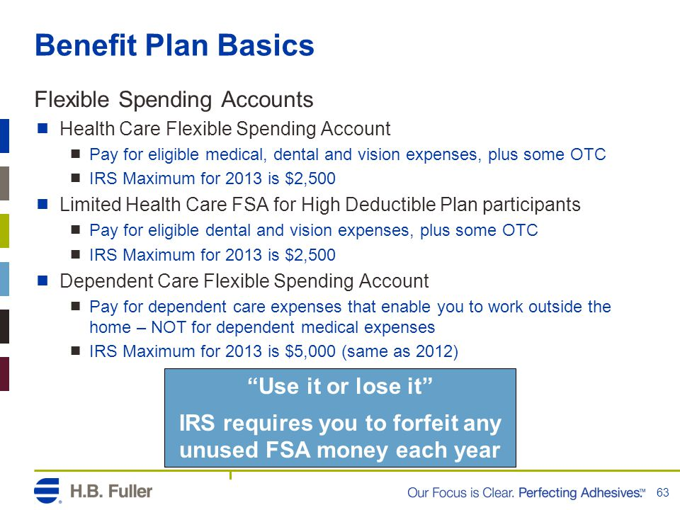 Benefit Plan Basics Flexible Spending Accounts  Health Care Flexible Spending Account  Pay for eligible medical, dental and vision expenses, plus some OTC  IRS Maximum for 2013 is $2,500  Limited Health Care FSA for High Deductible Plan participants  Pay for eligible dental and vision expenses, plus some OTC  IRS Maximum for 2013 is $2,500  Dependent Care Flexible Spending Account  Pay for dependent care expenses that enable you to work outside the home – NOT for dependent medical expenses  IRS Maximum for 2013 is $5,000 (same as 2012) 63 Use it or lose it IRS requires you to forfeit any unused FSA money each year