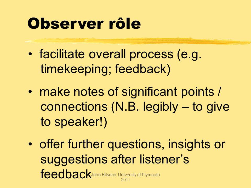 Observer rôle facilitate overall process (e.g.