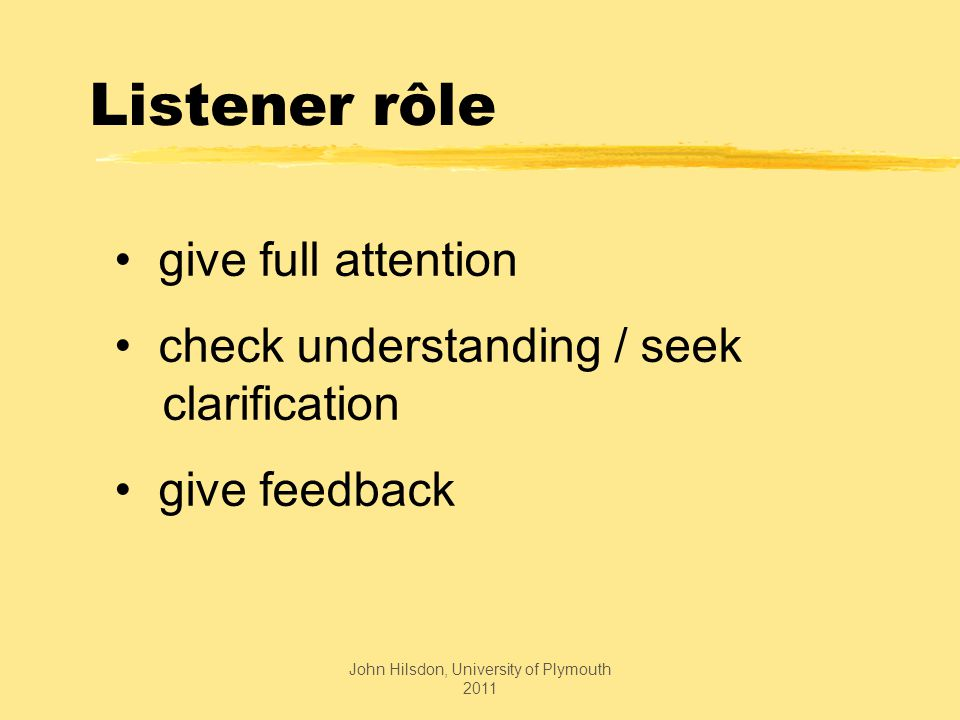 Listener rôle give full attention check understanding / seek clarification give feedback John Hilsdon, University of Plymouth 2011