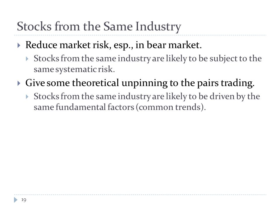 Stocks from the Same Industry  Reduce market risk, esp., in bear market.