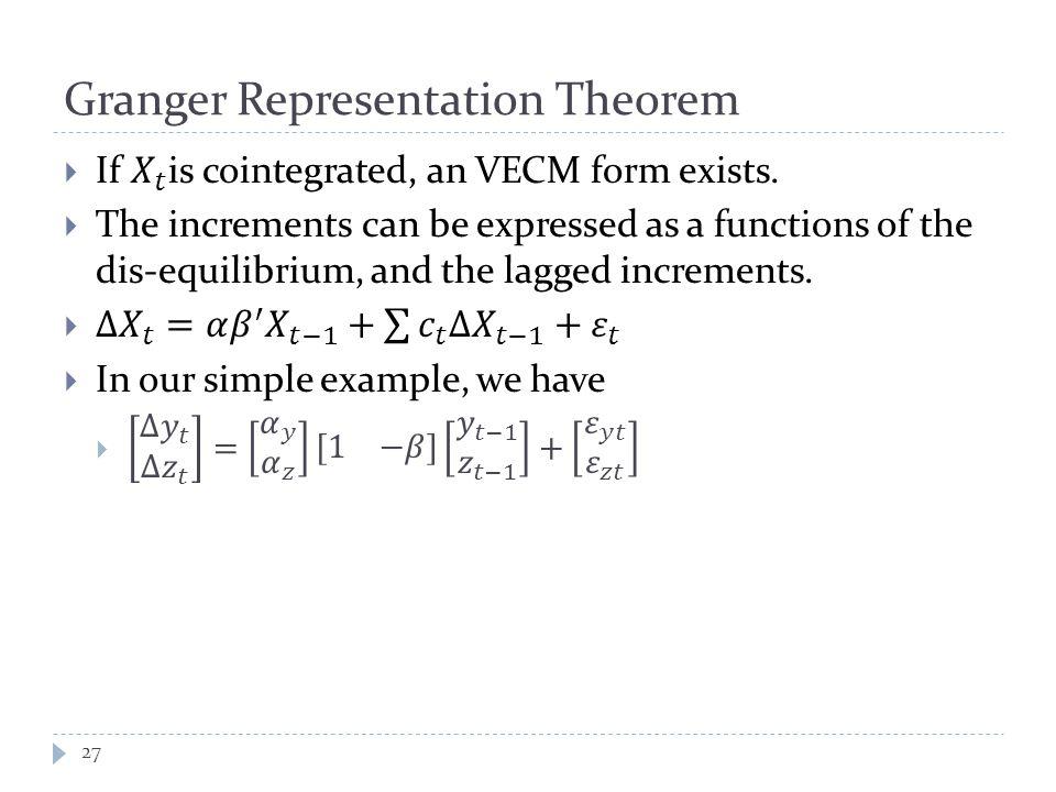 Granger Representation Theorem 27
