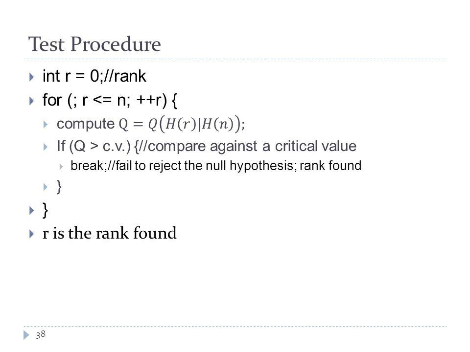 Test Procedure 38