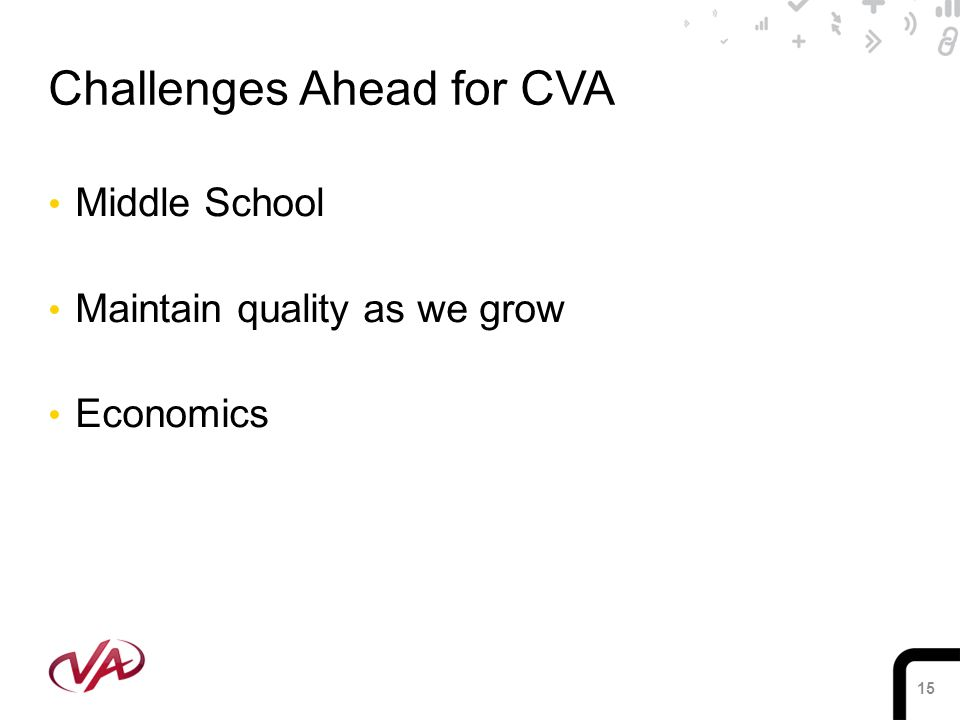 15 Challenges Ahead for CVA Middle School Maintain quality as we grow Economics