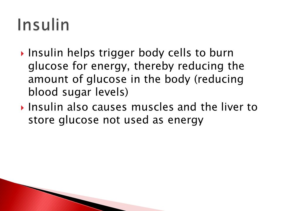  Insulin helps trigger body cells to burn glucose for energy, thereby reducing the amount of glucose in the body (reducing blood sugar levels)  Insulin also causes muscles and the liver to store glucose not used as energy