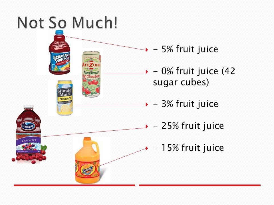 - 5% fruit juice  - 0% fruit juice (42 sugar cubes)  - 3% fruit juice  - 25% fruit juice  - 15% fruit juice