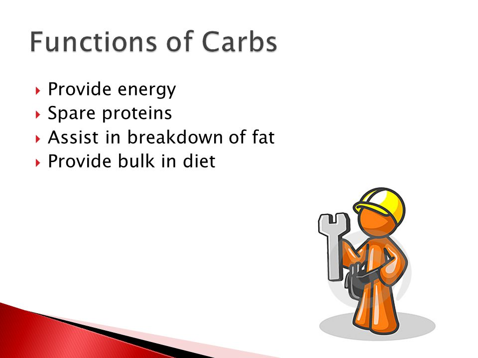  Provide energy  Spare proteins  Assist in breakdown of fat  Provide bulk in diet