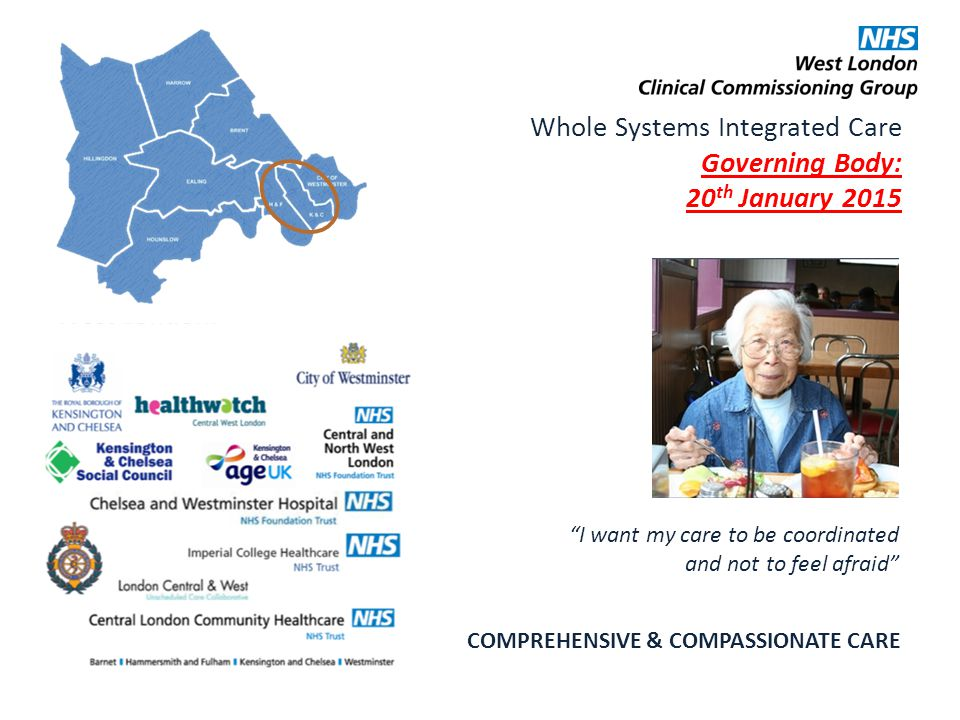 Whole Systems Integrated Care Governing Body: 20 th January 2015 COMPREHENSIVE & COMPASSIONATE CARE I want my care to be coordinated and not to feel afraid 1