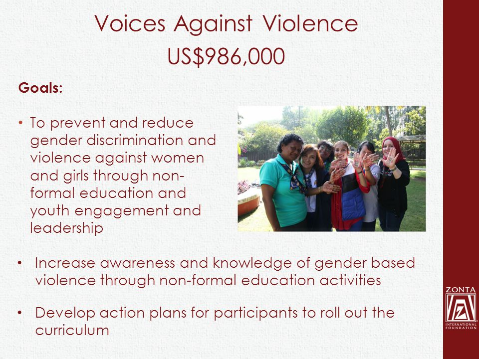 Voices Against Violence US$986,000 Goals: To prevent and reduce gender discrimination and violence against women and girls through non- formal education and youth engagement and leadership Increase awareness and knowledge of gender based violence through non-formal education activities Develop action plans for participants to roll out the curriculum