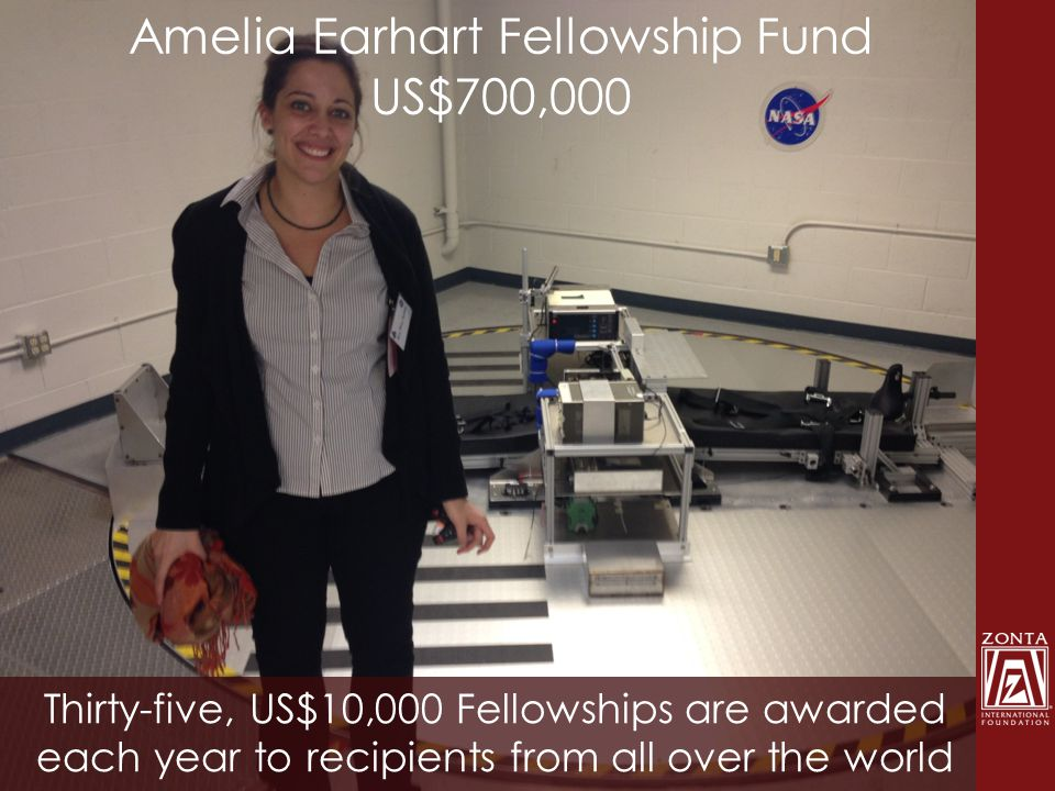 Amelia Earhart Fellowship Fund US$700,000 Thirty-five, US$10,000 Fellowships are awarded each year to recipients from all over the world