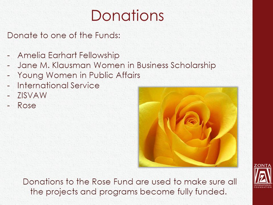 Donations Donations to the Rose Fund are used to make sure all the projects and programs become fully funded. Donate to one of the Funds: -Amelia Earh