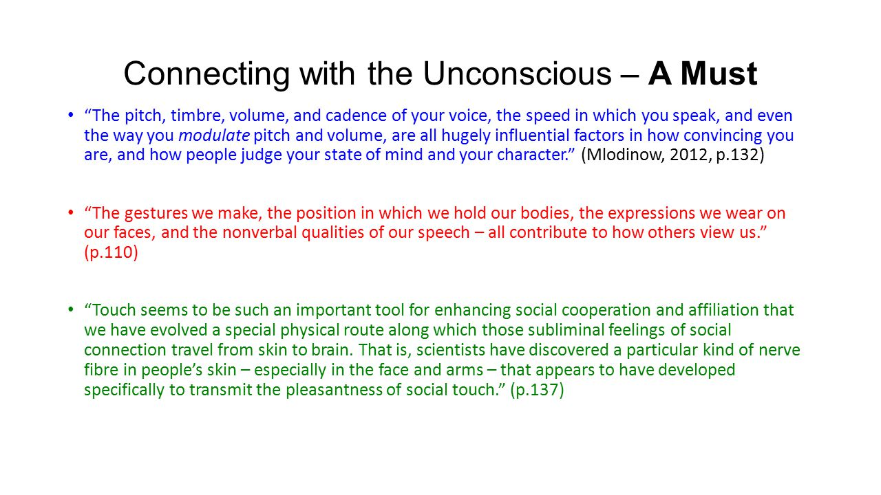 "Connecting with the Unconscious – A Must ""The pitch, timbre, volume, and cadence of your voice, the speed in which you speak, and even the way you mod"