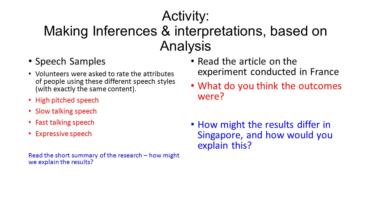 Activity: Making Inferences & interpretations, based on Analysis Speech Samples Volunteers were asked to rate the attributes of people using these different speech styles (with exactly the same content).