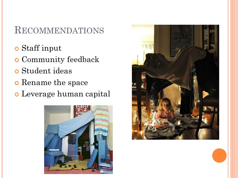 R ECOMMENDATIONS Staff input Community feedback Student ideas Rename the space Leverage human capital