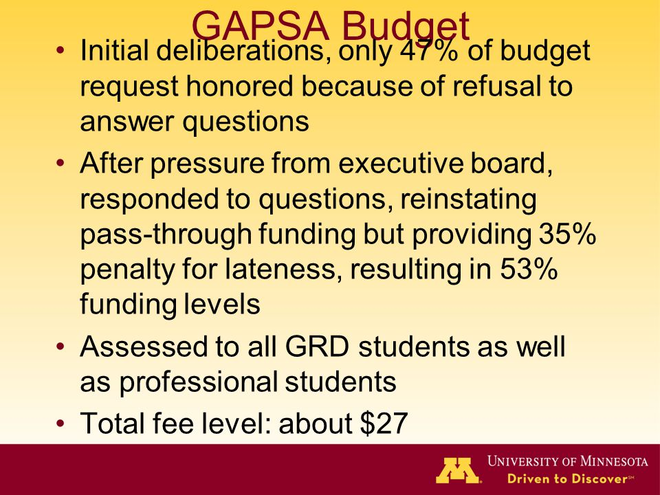 GAPSA Budget Initial deliberations, only 47% of budget request honored because of refusal to answer questions After pressure from executive board, responded to questions, reinstating pass-through funding but providing 35% penalty for lateness, resulting in 53% funding levels Assessed to all GRD students as well as professional students Total fee level: about $27