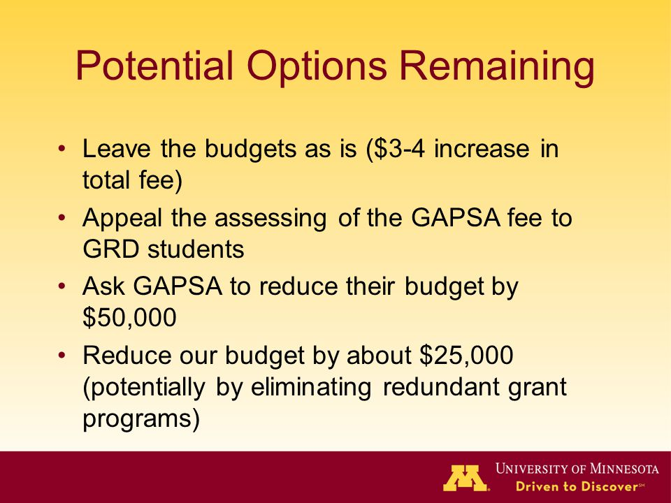 Potential Options Remaining Leave the budgets as is ($3-4 increase in total fee) Appeal the assessing of the GAPSA fee to GRD students Ask GAPSA to reduce their budget by $50,000 Reduce our budget by about $25,000 (potentially by eliminating redundant grant programs)