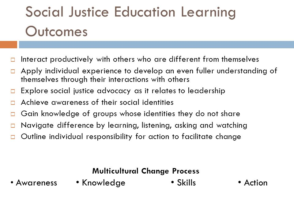 Social Justice Education Learning Outcomes  Interact productively with others who are different from themselves  Apply individual experience to deve