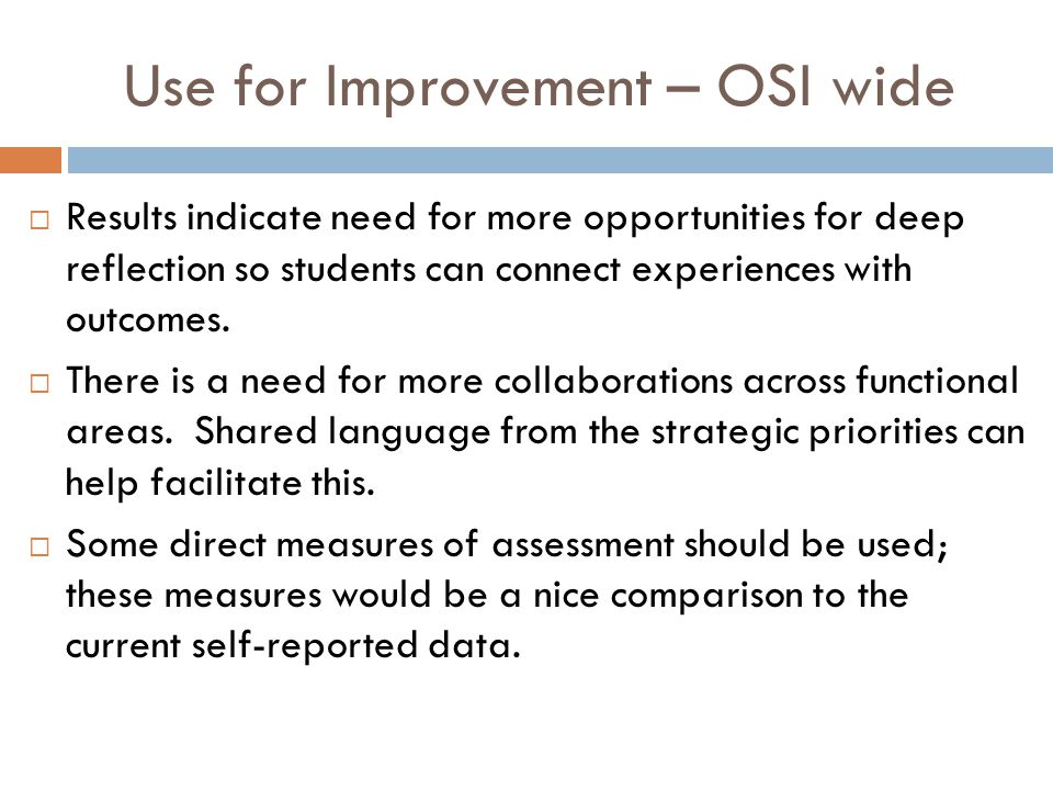 Use for Improvement – OSI wide  Results indicate need for more opportunities for deep reflection so students can connect experiences with outcomes. 