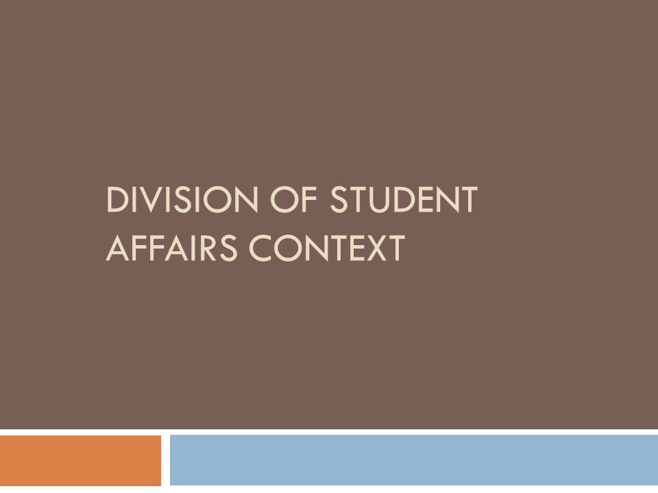 DIVISION OF STUDENT AFFAIRS CONTEXT