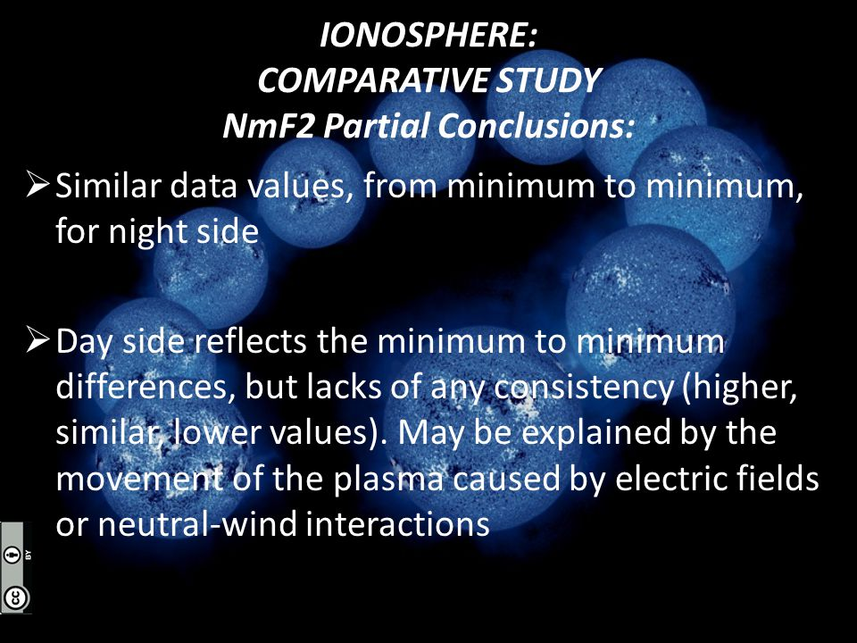 IONOSPHERE: COMPARATIVE STUDY NmF2 Partial Conclusions:  Similar data values, from minimum to minimum, for night side  Day side reflects the minimum to minimum differences, but lacks of any consistency (higher, similar, lower values).