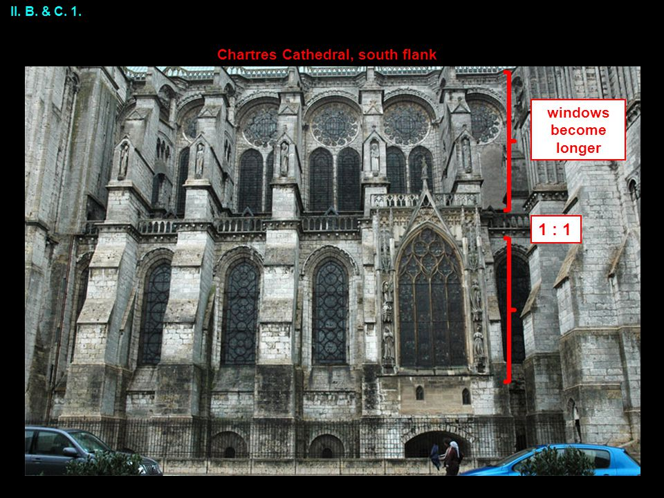 1 : 1 windows become longer Chartres Cathedral, south flank II. B. & C. 1.