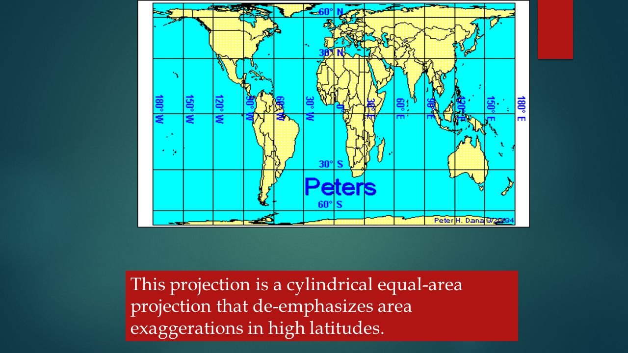 TYPES OF CYLINDRICAL PROJECTIONS – THESE INCLUDE - This projection is a cylindrical equal-area projection that de-emphasizes area exaggerations in high latitudes.