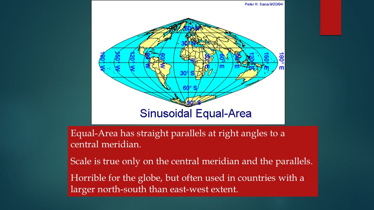 Projections TYPES OF CYLINDRICAL PROJECTIONS – THESE INCLUDE - Equal-Area has straight parallels at right angles to a central meridian.