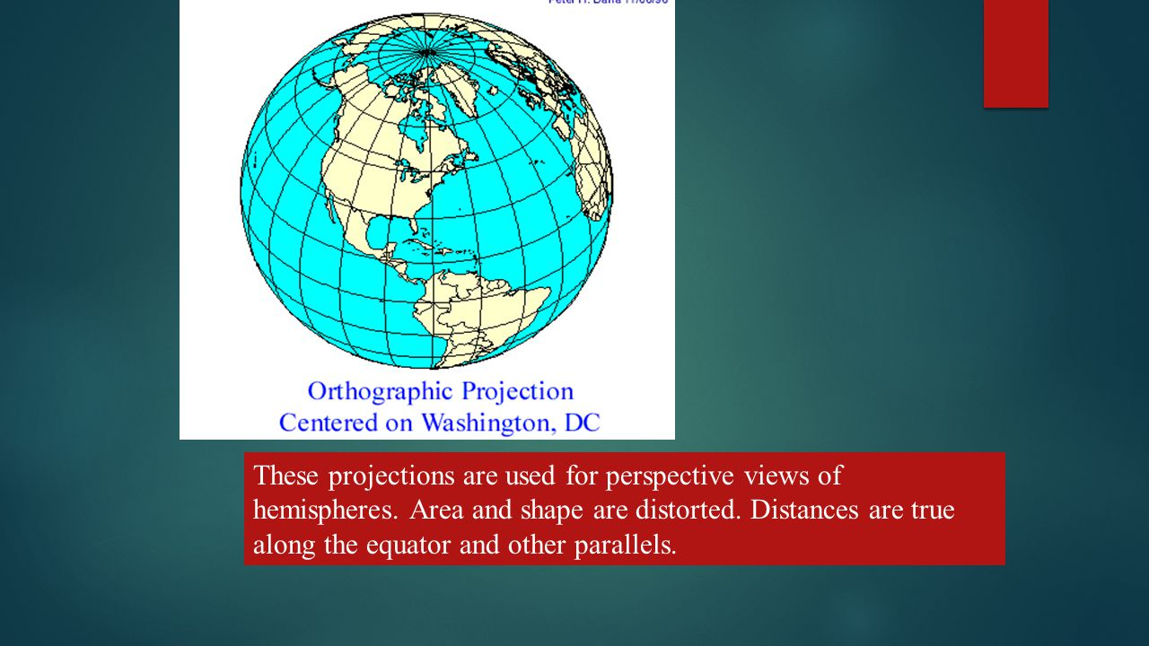 TYPES OF PLANAR PROJECTIONS – THESE INCLUDE - These projections are used for perspective views of hemispheres.