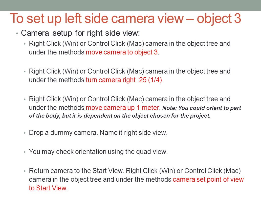 To set up left side camera view – object 3 Camera setup for right side view: Right Click (Win) or Control Click (Mac) camera in the object tree and under the methods move camera to object 3.