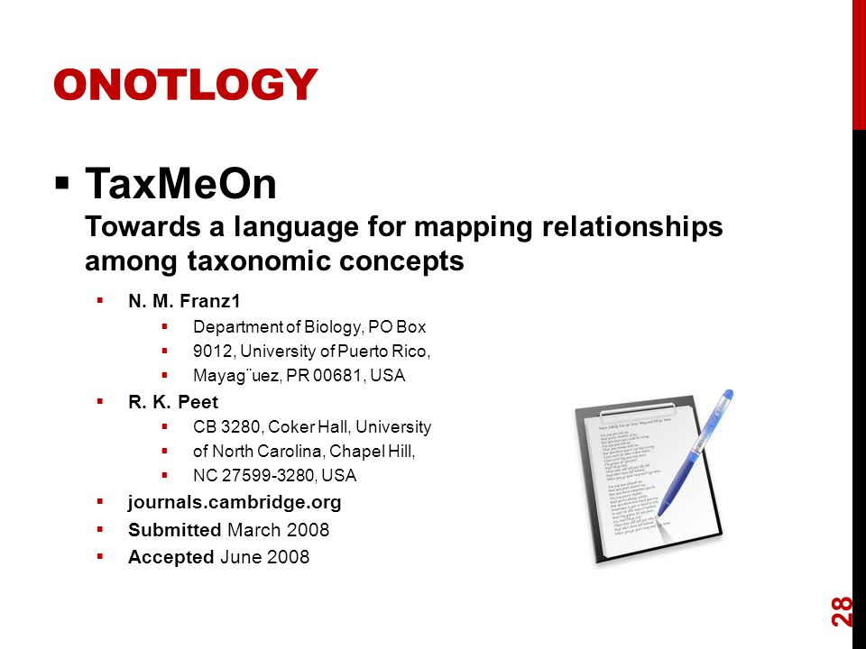 ONOTLOGY  TaxMeOn Towards a language for mapping relationships among taxonomic concepts  N.