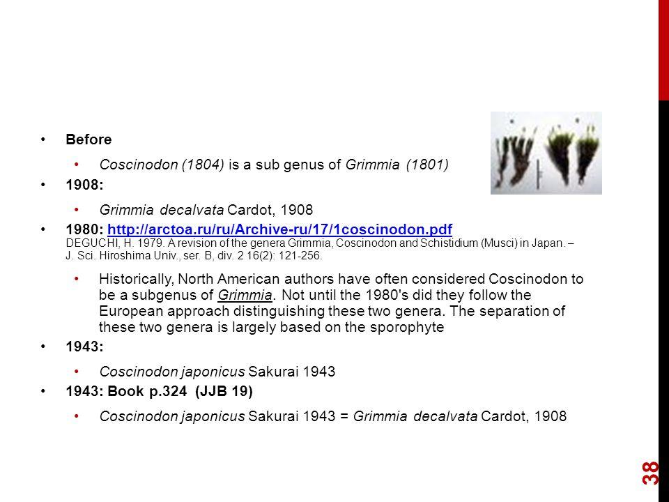 Before Coscinodon (1804) is a sub genus of Grimmia (1801) 1908: Grimmia decalvata Cardot, 1908 1980: http://arctoa.ru/ru/Archive-ru/17/1coscinodon.pdf