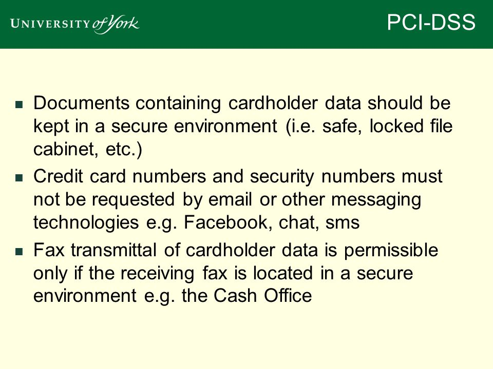 Documents containing cardholder data should be kept in a secure environment (i.e.