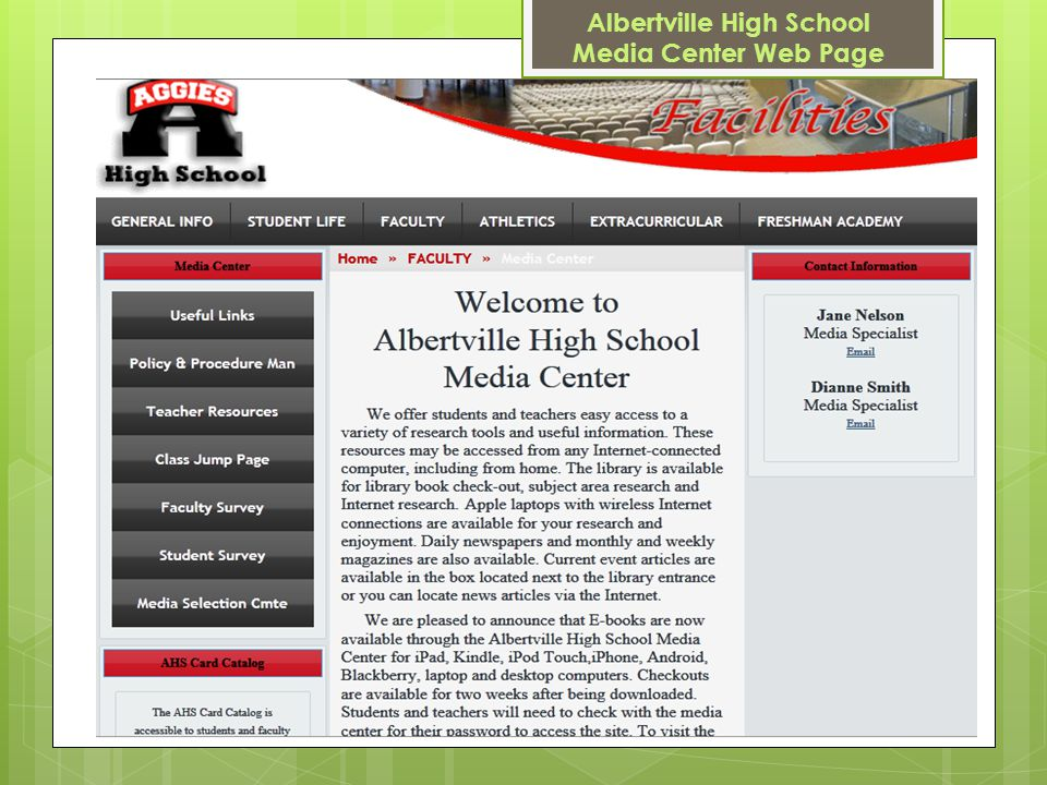 Albertville High School Media Center Web Page