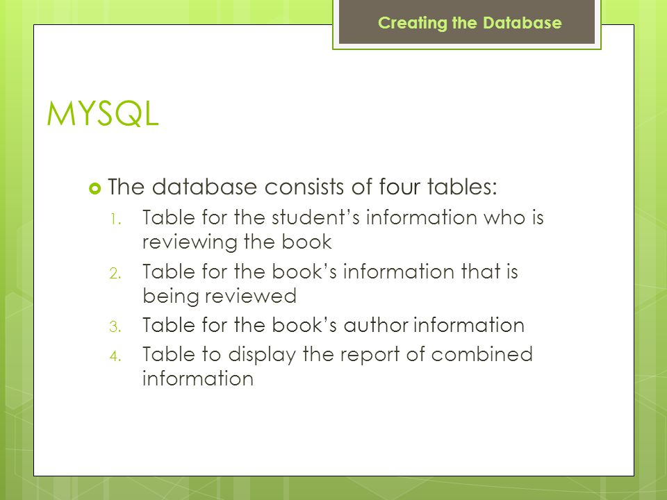 MYSQL  The database consists of four tables: 1.