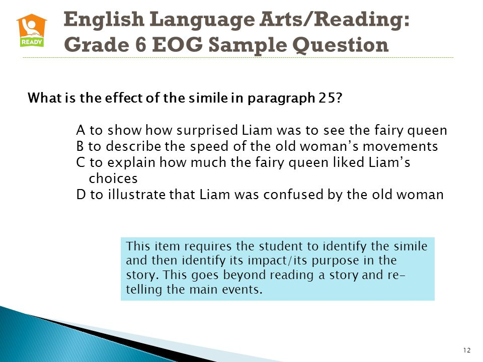 English Language Arts/Reading: Grade 6 EOG Sample Question 12 What is the effect of the simile in paragraph 25.