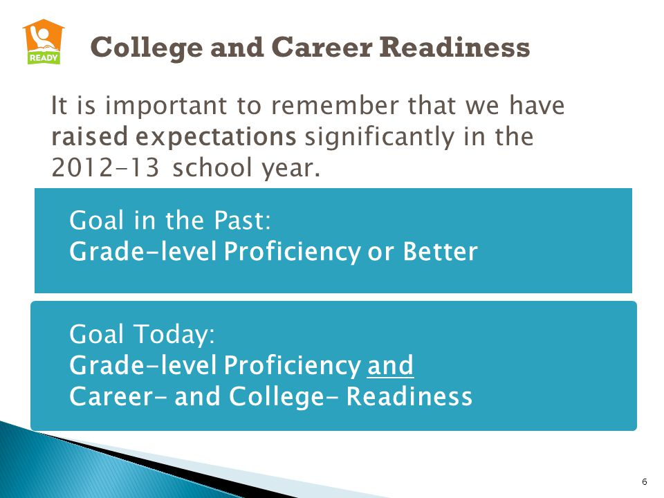 College and Career Readiness It is important to remember that we have raised expectations significantly in the 2012-13 school year.