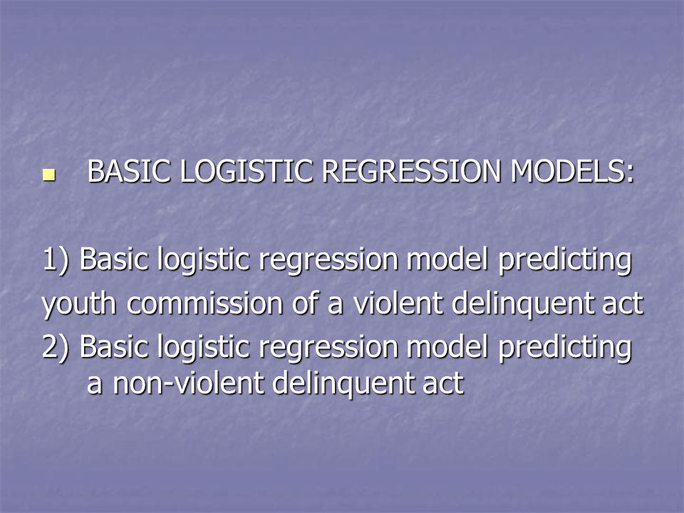 BASIC LOGISTIC REGRESSION MODELS: BASIC LOGISTIC REGRESSION MODELS: 1) Basic logistic regression model predicting youth commission of a violent delinquent act 2) Basic logistic regression model predicting a non-violent delinquent act