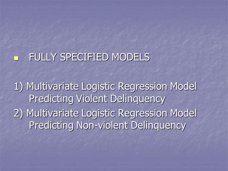 FULLY SPECIFIED MODELS FULLY SPECIFIED MODELS 1) Multivariate Logistic Regression Model Predicting Violent Delinquency 2) Multivariate Logistic Regression Model Predicting Non-violent Delinquency