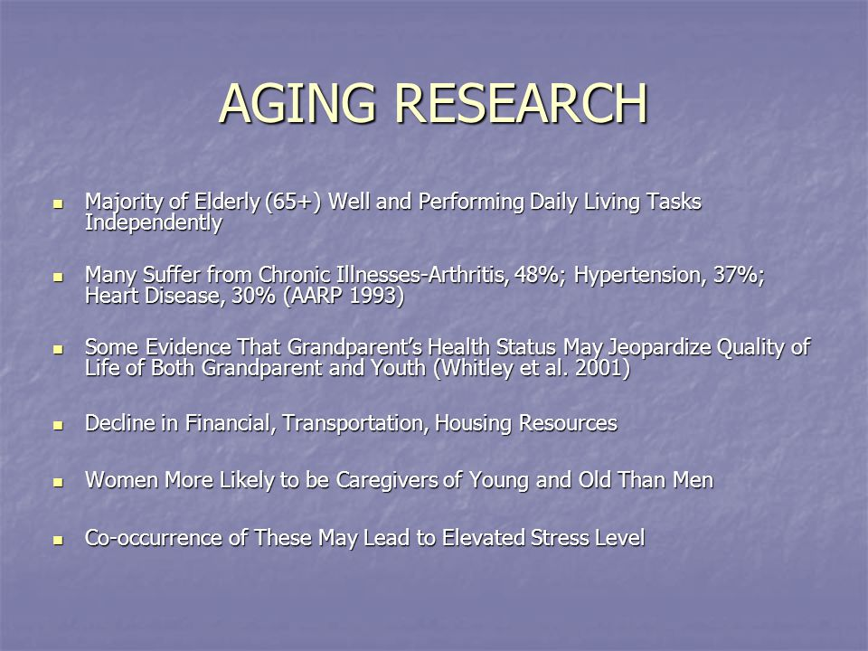AGING RESEARCH Majority of Elderly (65+) Well and Performing Daily Living Tasks Independently Majority of Elderly (65+) Well and Performing Daily Livi